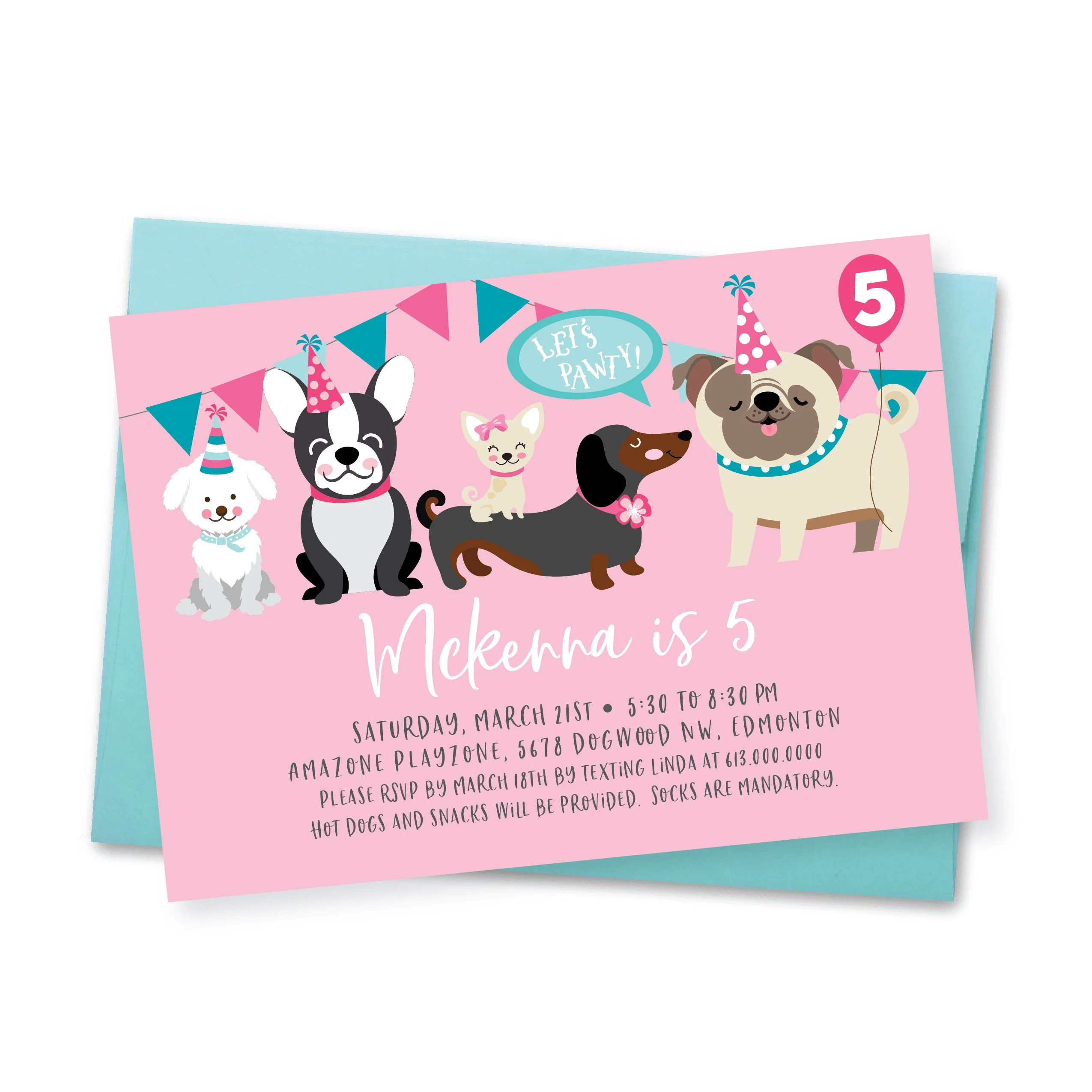 dog birthday party invitation pug