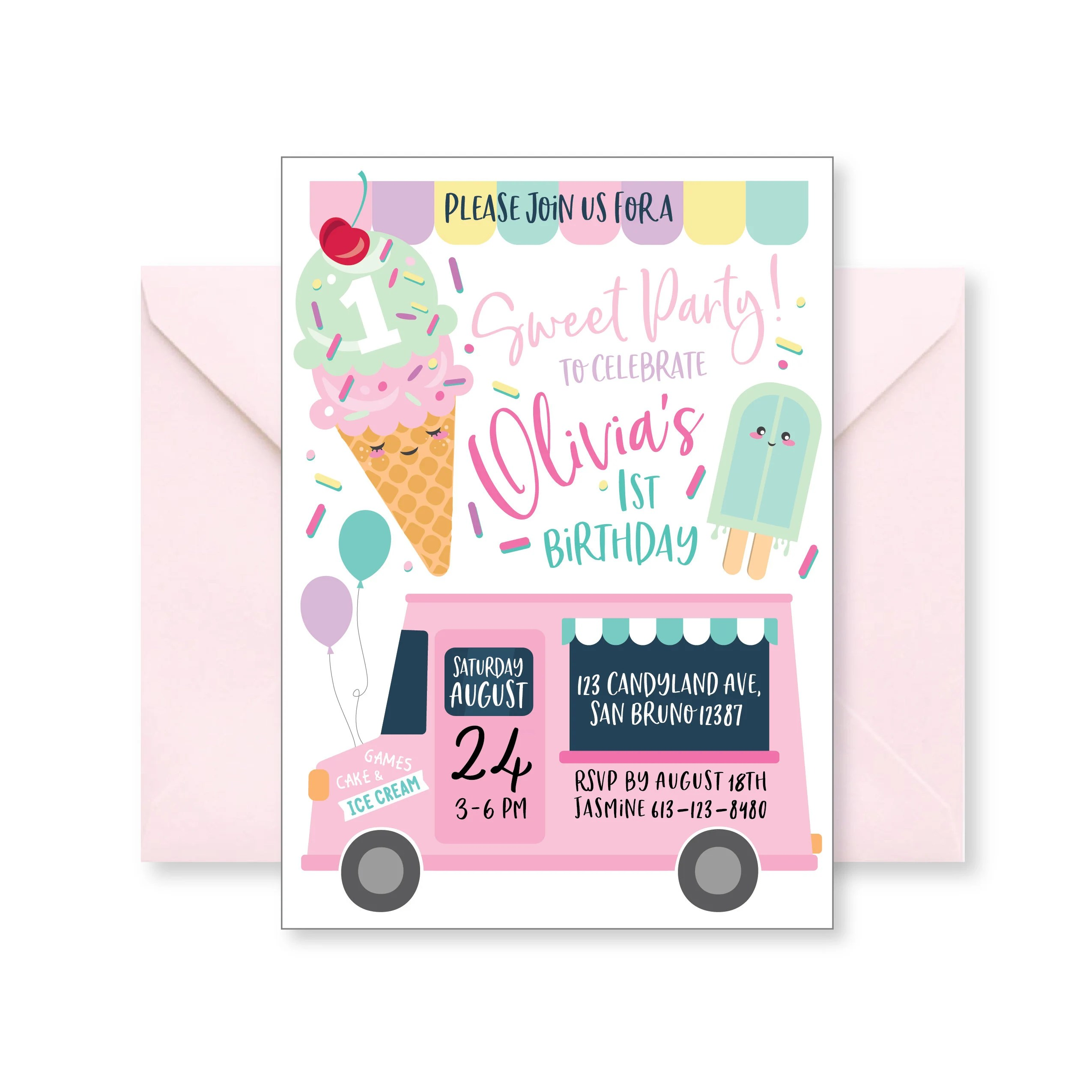 Ice Cream Party Invitation Ice Cream First Birthday Ice Cream Social Ice Cream Baby Shower Printables Digital Personalized