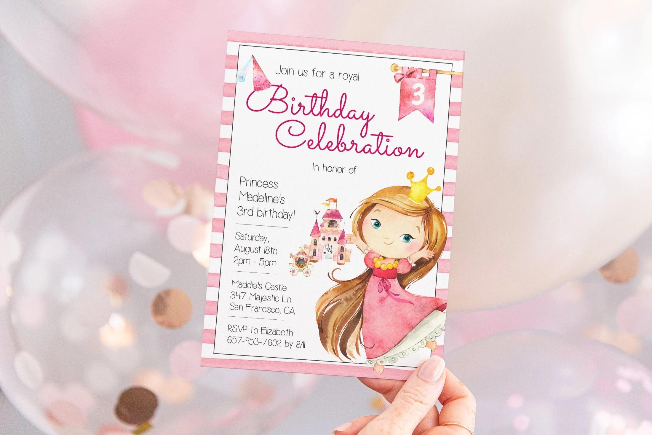 editable princess invitation template