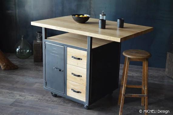 ilot central de cuisine en bois et metal de style industriel meuble de cuisine industriel sur mesure chene et acier brut