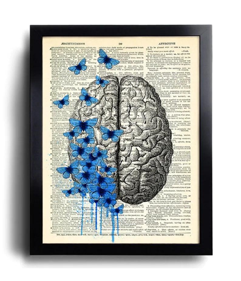brain human anatomy art print blue butterflies poster anatomical brain anatomy brain poster vintage human brain wall decor gift for man 628