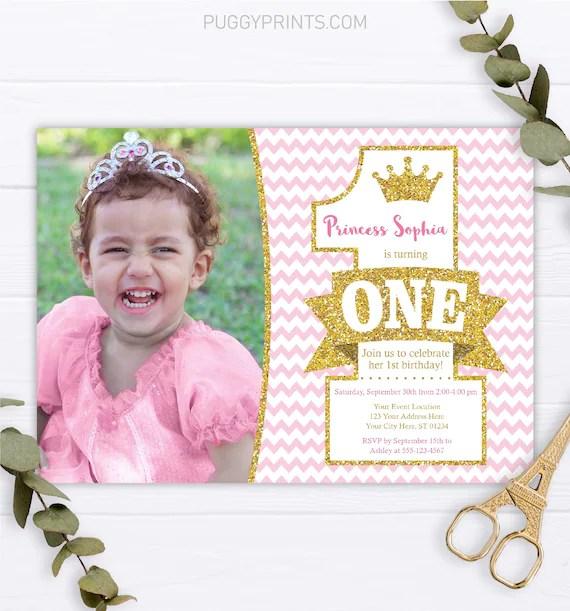 Princess 1st Birthday Invitation With Photo Editable Princess Etsy