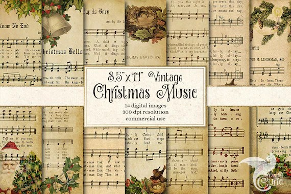 picture relating to Free Printable Vintage Christmas Sheet Music referred to as Traditional Xmas Sheet Tunes Clipart
