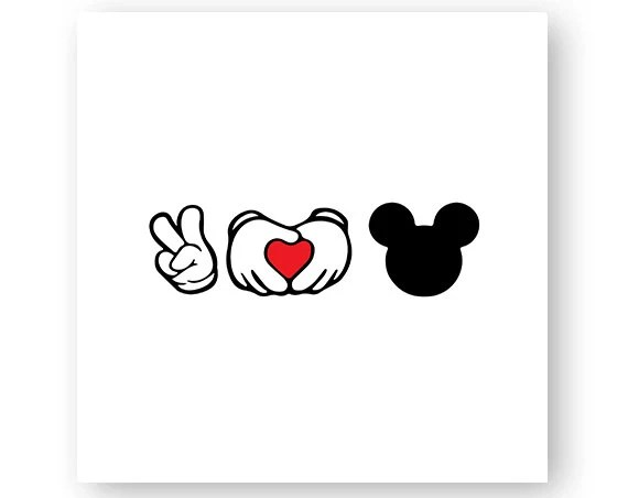 Download Disney Peace Love Icon Mickey Icon Minnie Hands Heart | Etsy