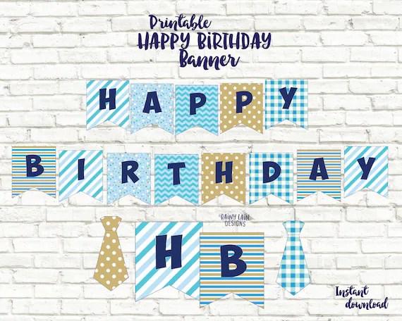Boy 1st Birthday Happy Birthday Banner Boy First Birthday Etsy