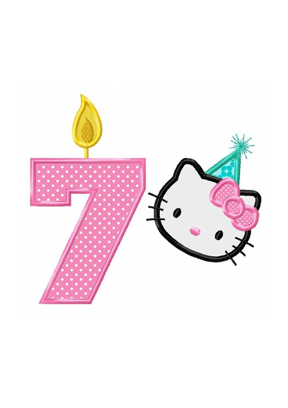 7th birthday kitty instant download applique machine embroidery design no 886