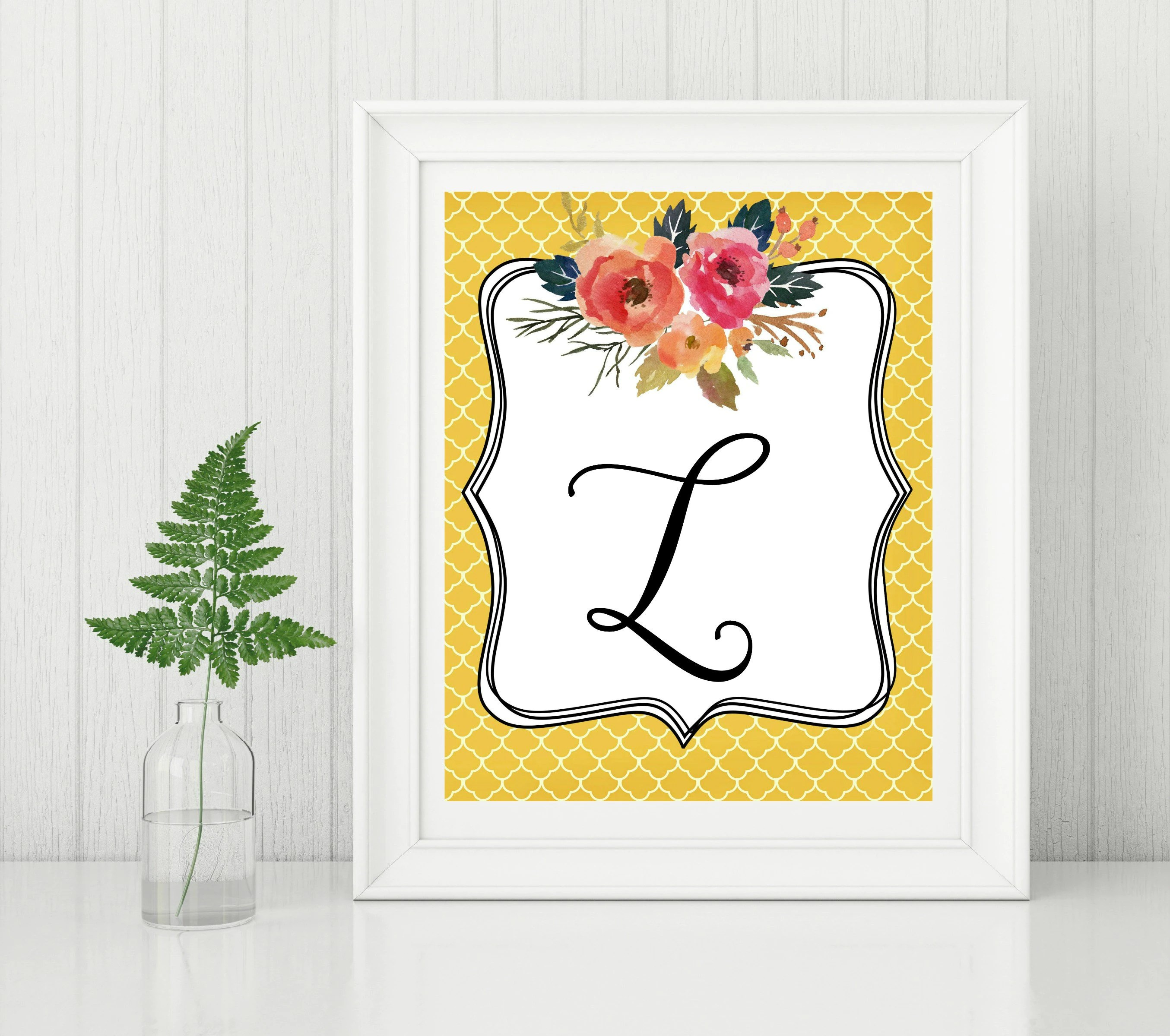 Letter L Fall Autumn Style Watercolor Floral Initial