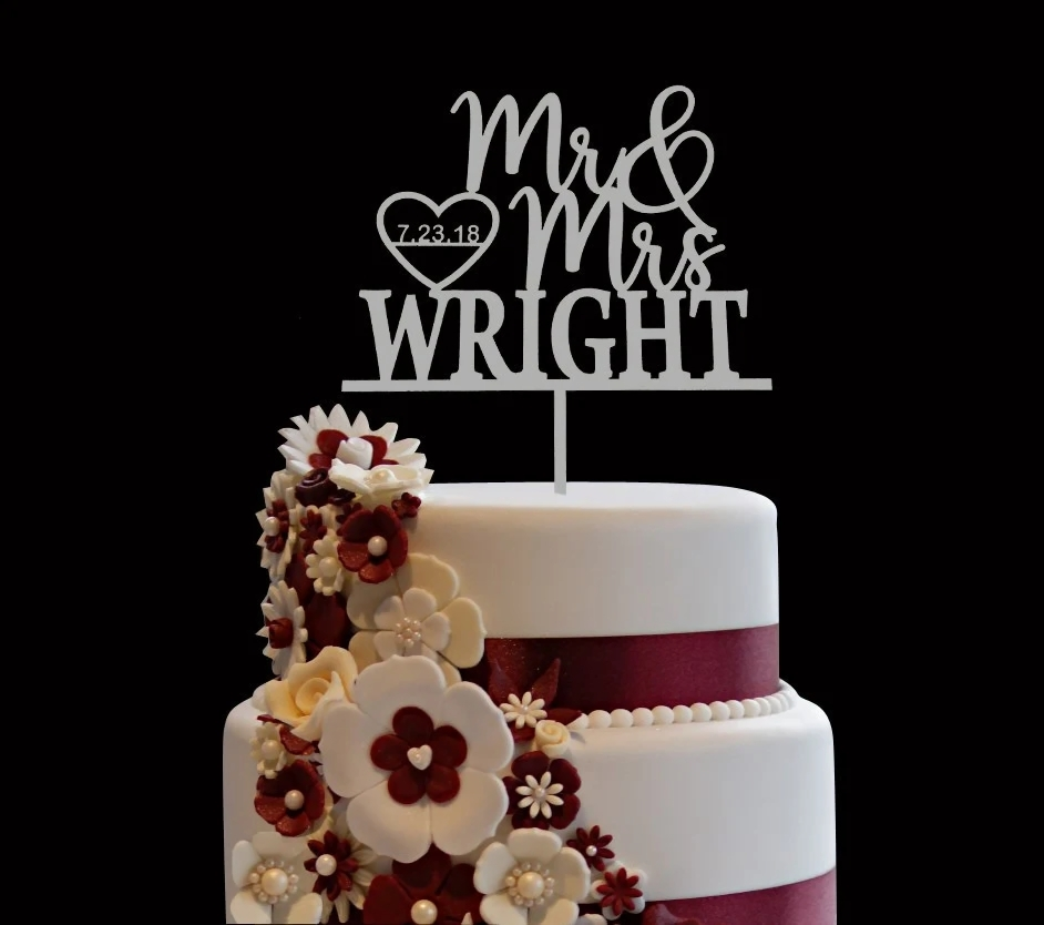 wedding cake topper  raquo  Personalized wedding cake topper   Etsy Custom Wedding Cake Topper  Custom Calligraphy Personalized Cake Topper for  Wedding  Custom Personalized Wedding Cake Topper Mr   Mrs Wright