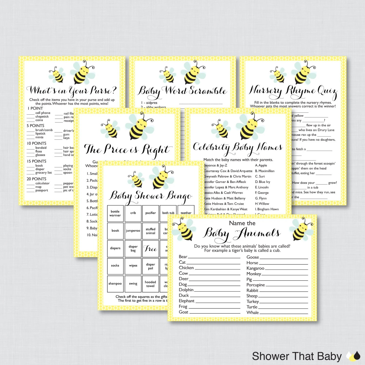 Bumble Bee Baby Shower Games Package In Yellow Seven