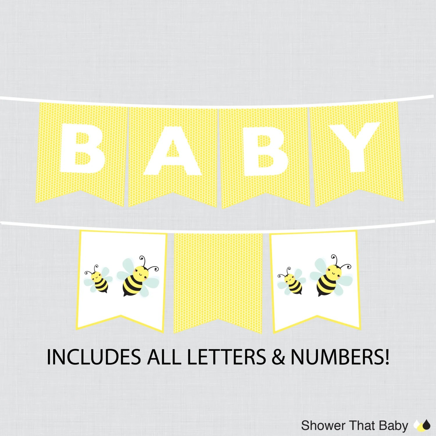 Printable Bumble Bee Baby Shower Banner In Yellow Bumble