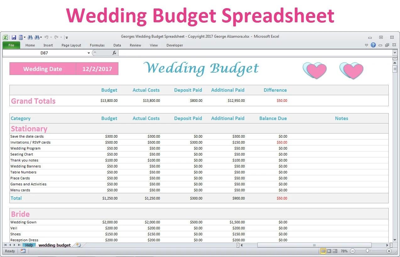 Wedding Budget Spreadsheet Planner Excel Wedding Budget Worksheet Wedding Budget Calculator Wedding Budget Template Digital Download