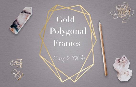 Gold Geometric Frames, Modern Polygonal Frame Clipart