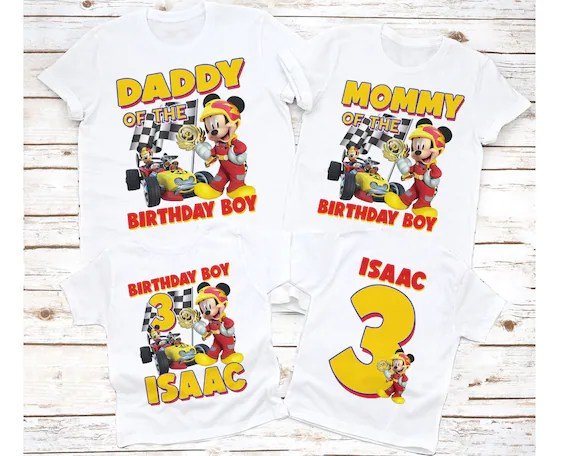 Mickey Mouse Roadster Racers Birthday Shirt Personalized Name Etsy