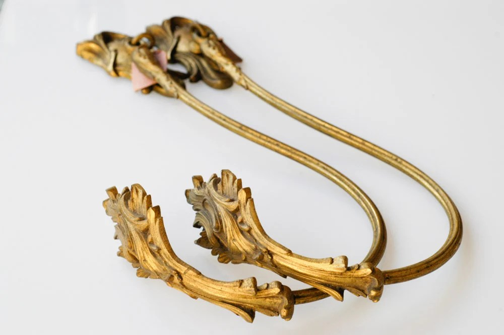 curtain tie backs french antique drapery hardware gilded bronze architectural metal large heavy home midcentury decor for curtains one pair
