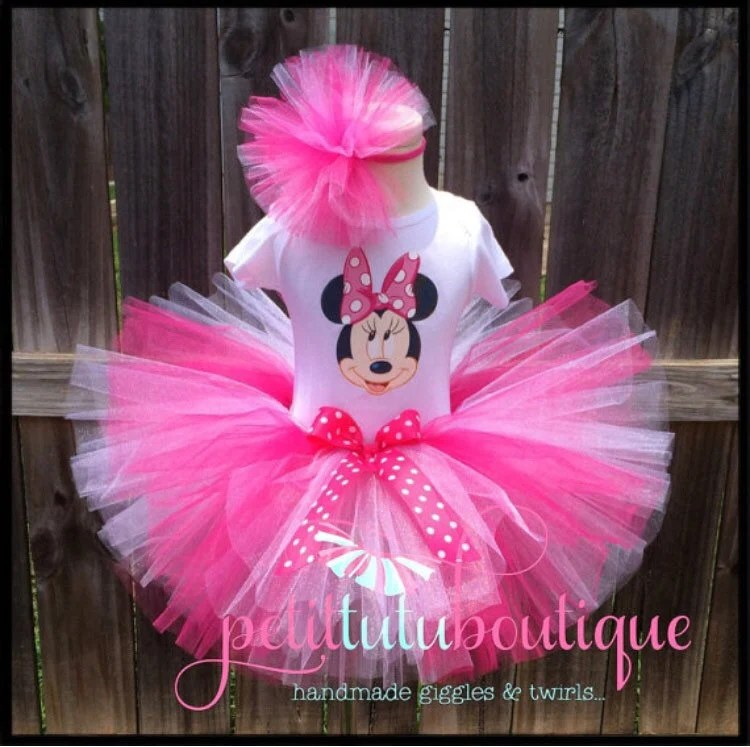 Pink Minnie Mouse Birthday Tutu Set Dress Any Size Available Etsy