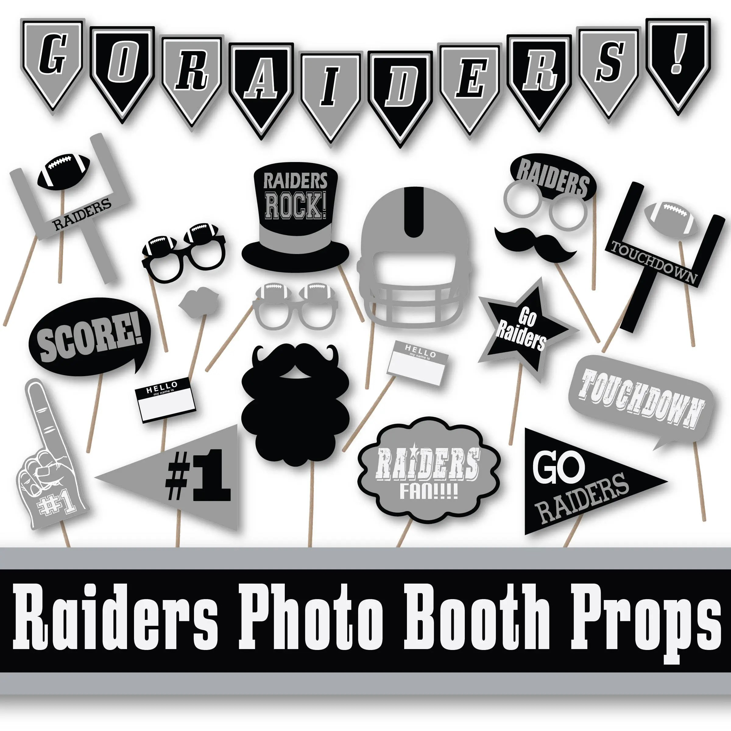Raiders Football Photo Booth Props And Party Decorations