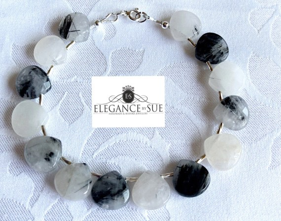 Rutilated Quartz and Sterling Silver Bead Bracelet