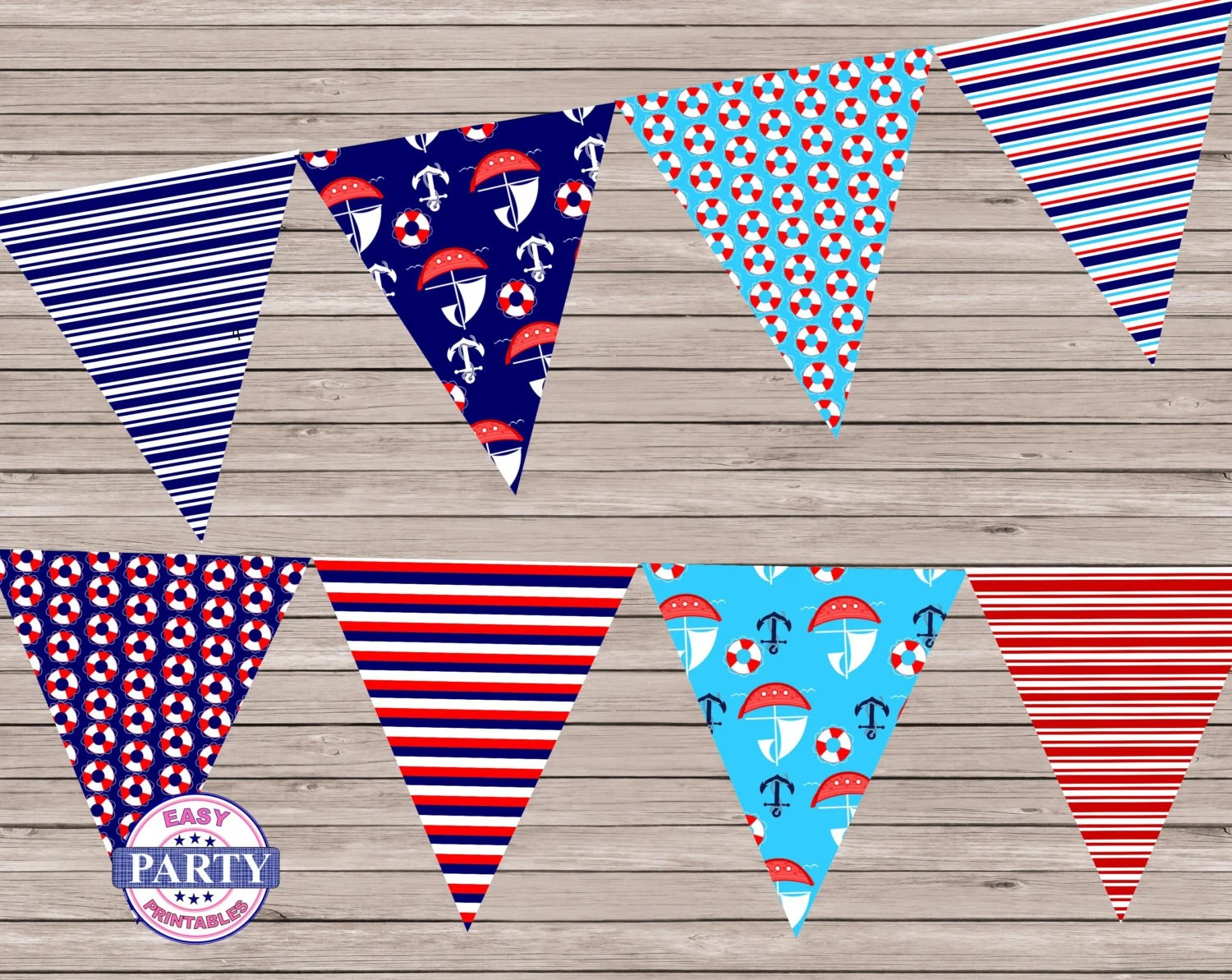Nautical Navy And Red Pennant Flags Banner Instant Download
