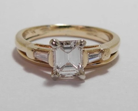 Vintage emerald cut engagement ring   Etsy Vintage Retro 14k  40 Carat Emerald Cut Baguette Engagement Wedding Ring  Set SALE