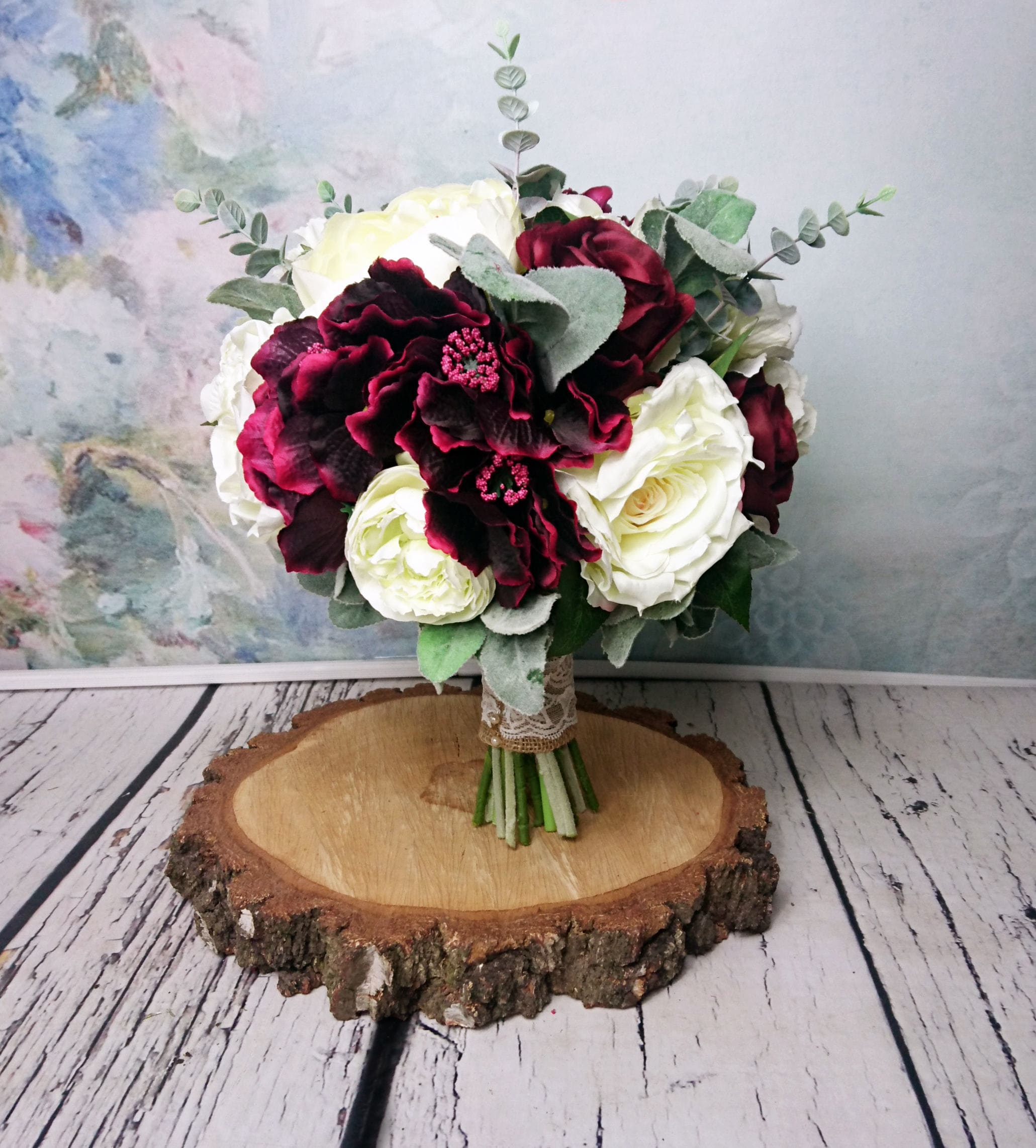 Large wedding bouquet realistic silk flowers burgundy ivory dusty     gallery photo gallery photo gallery photo gallery photo