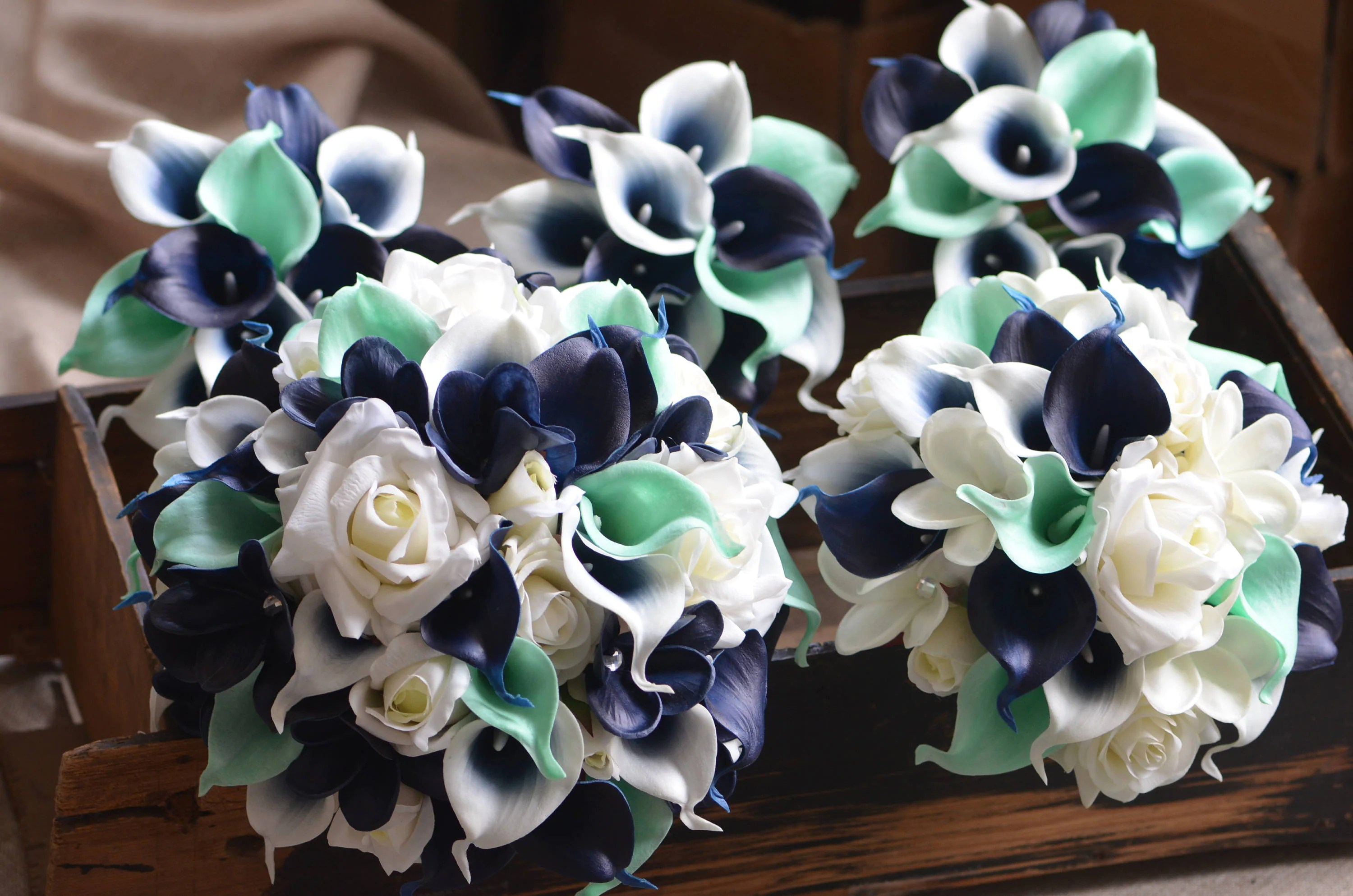 Navy Mint Wedding Packages Real Touch Flowers Calla Lilies