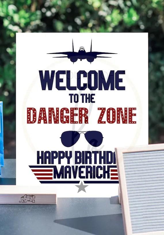 Printable Happy Birthday Maverick Top Gun Welcome Sign 16 X Etsy