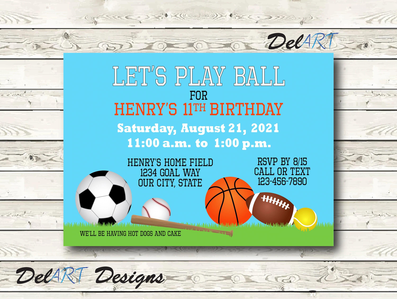 Sports Theme Party Invitation Play Ball Birthday Invite Or Etsy