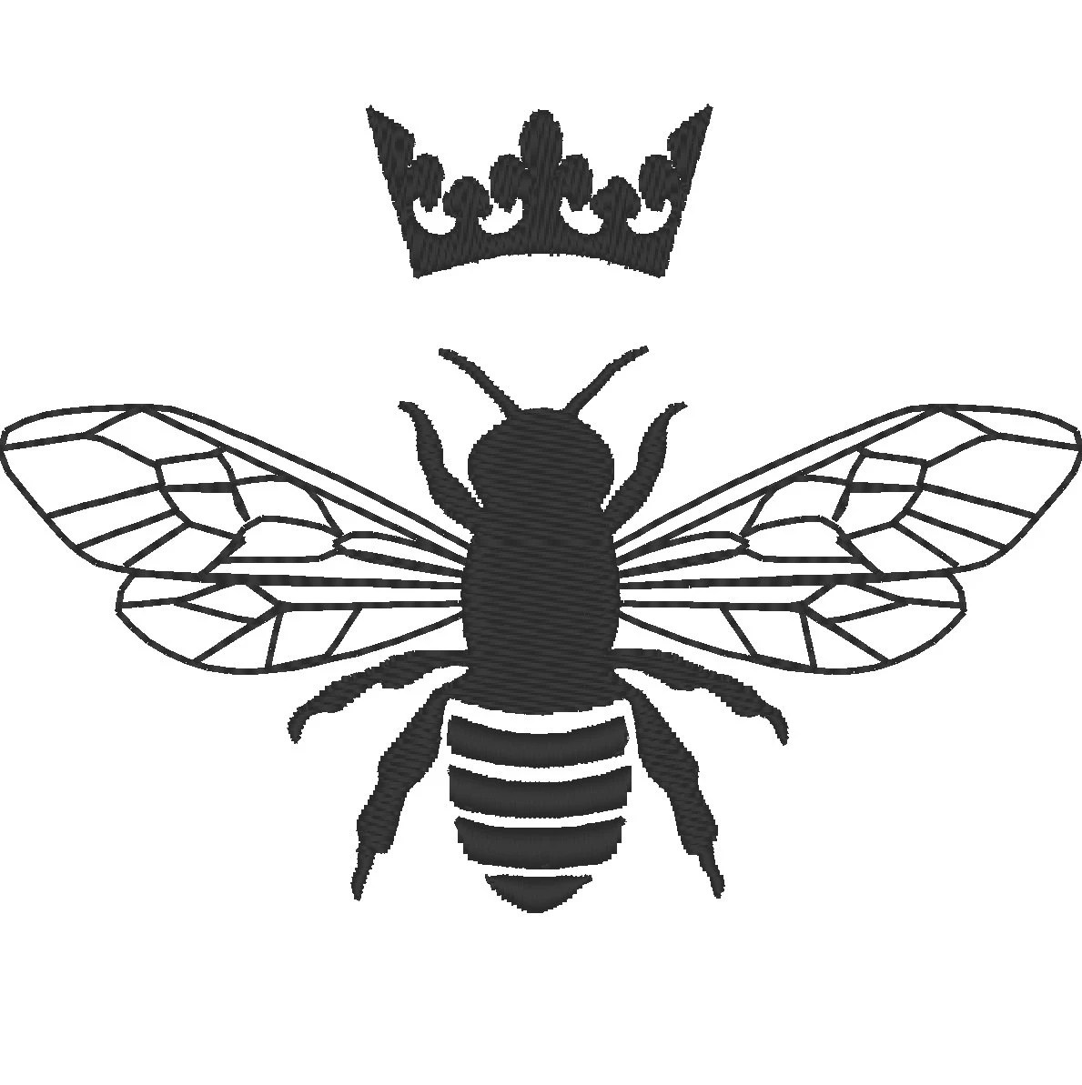 Queen Bee Embroidery Fill Stitch Embroidery Design Queen