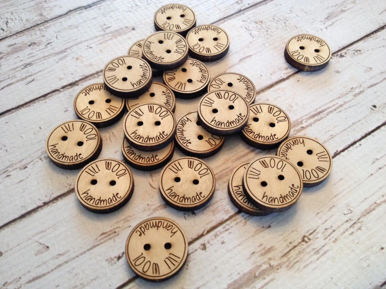 Custom button design  personalized wood button engraved image 1