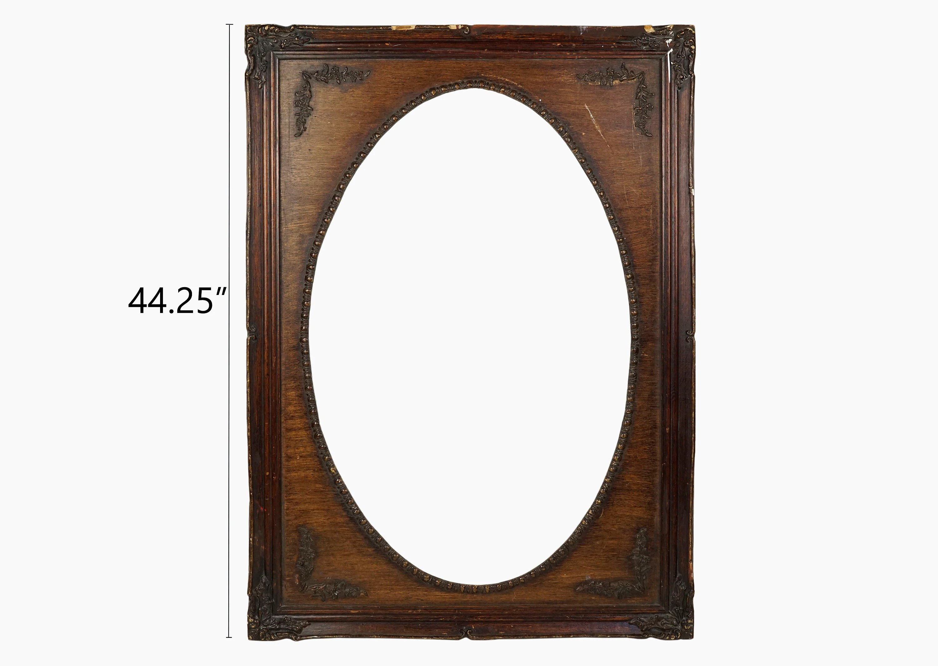Vintage Wooden Victorian Frame Mirror Painting Oval Shaped