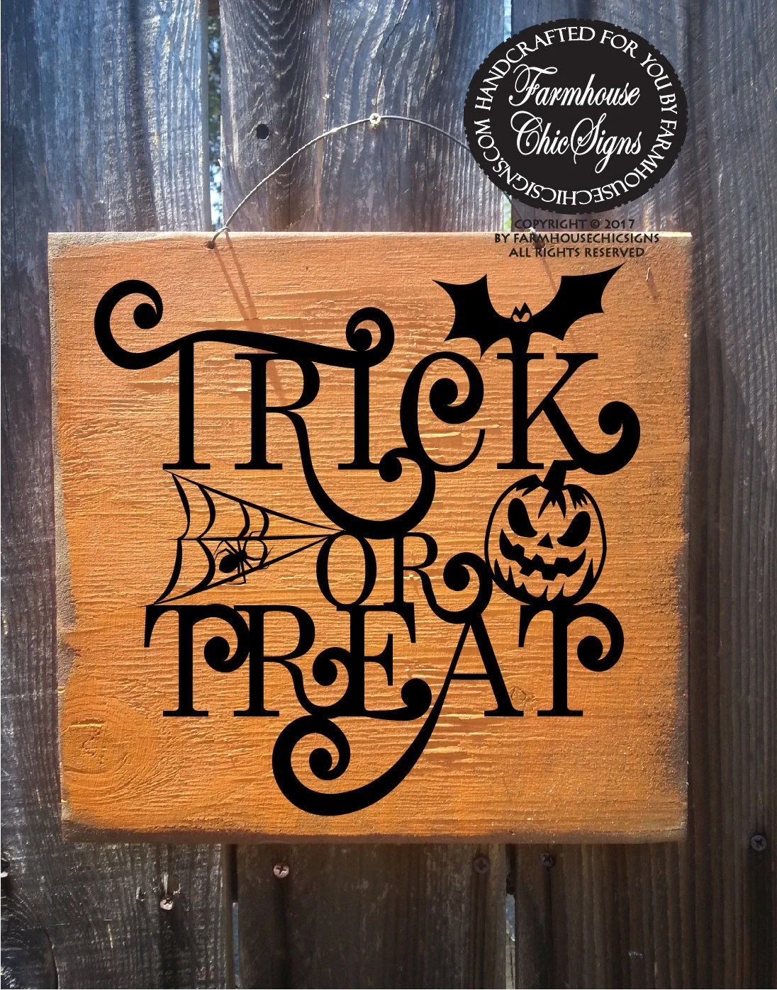 Trick Or Treat Wall Art Rustic Trick Or Treat Sign Wood