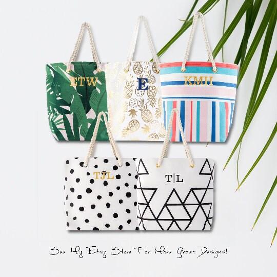 Custom Bridal Party Tote Bag  Palm Leaf  Bridesmaid Gift  image 5