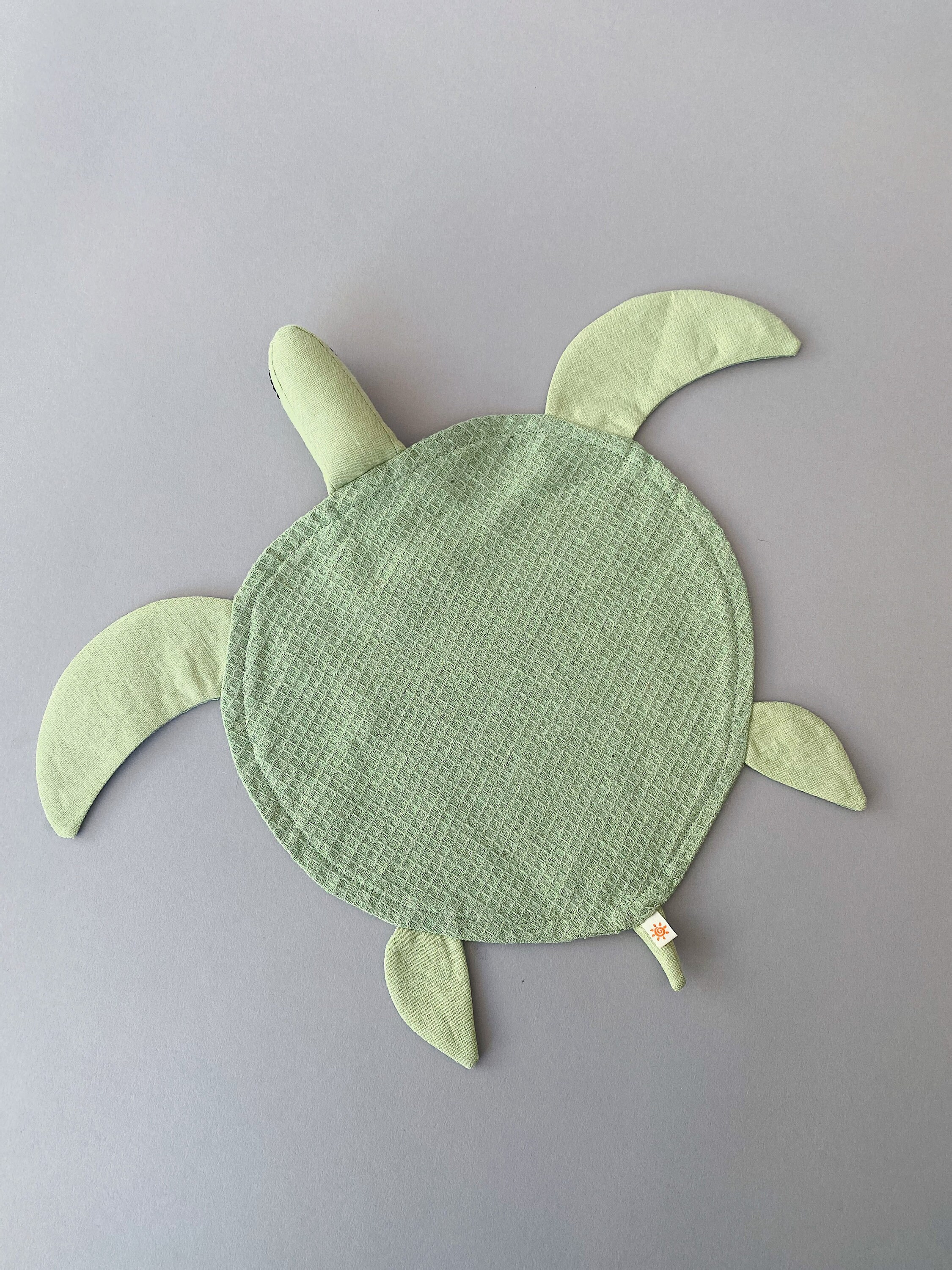 Green Turtle Lovey Waffle Linen Comforter by SUNandCo image 6