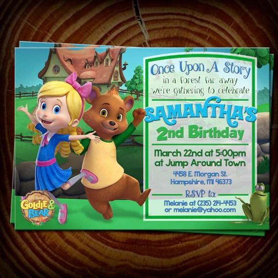 Goldie Bear Birthday Invitation Digital File Etsy
