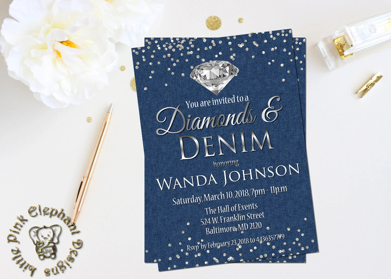 Denim And Diamonds Invitation Fabulous 50 Invite 65th Birthday Invitations 50th Birthday Invitations 50th Birthday Diamonds And Denim