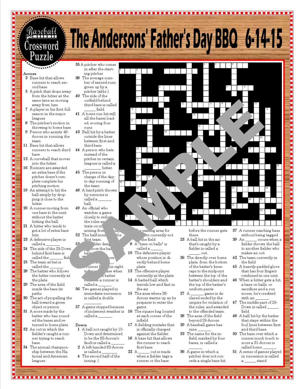 Baseball Terms Printable Crossword Puzzle Baseball Themed