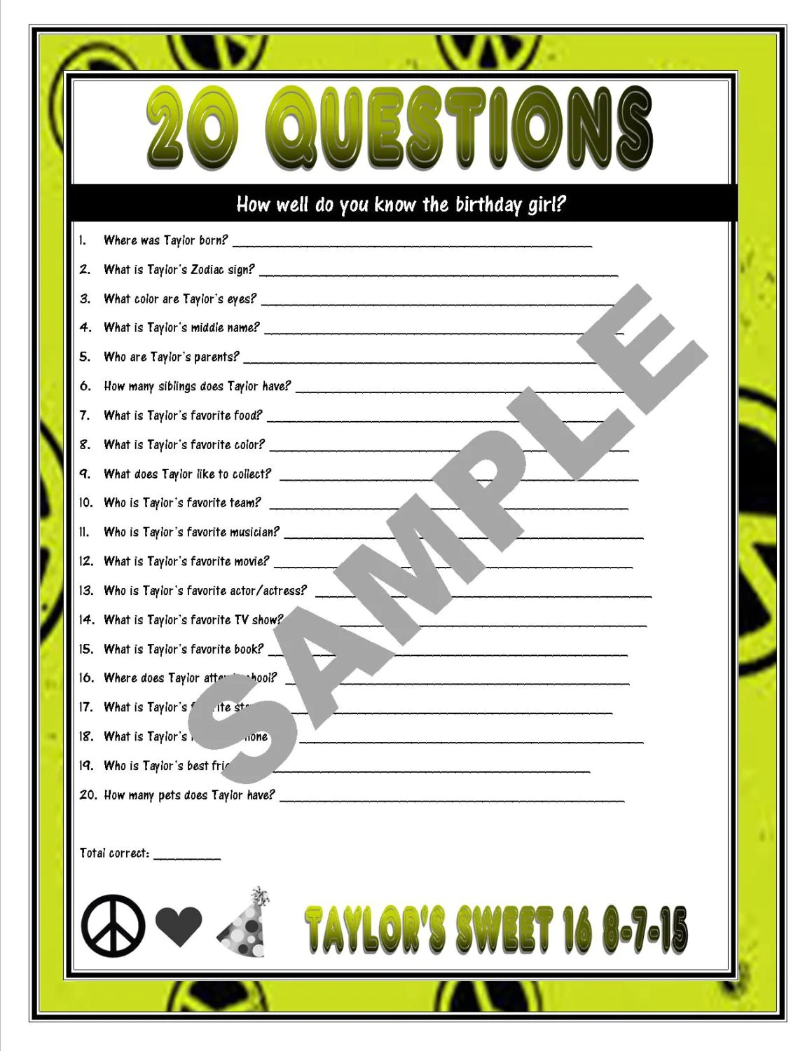 20 Questions Printable Birthday Game How Well Do You Know