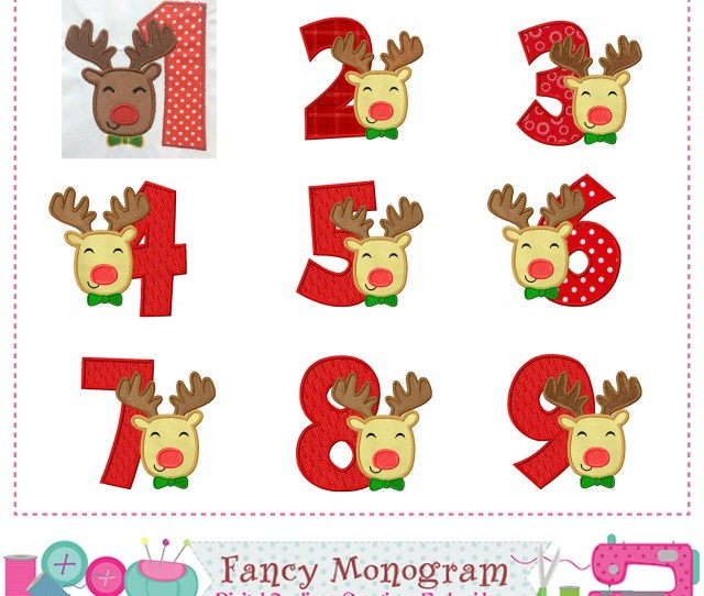 Christmas Numbers Appliquereindeer Numbers Appliquereindeer Designbirthday Numbersreindeer Appliquereindeerchristmas Applique