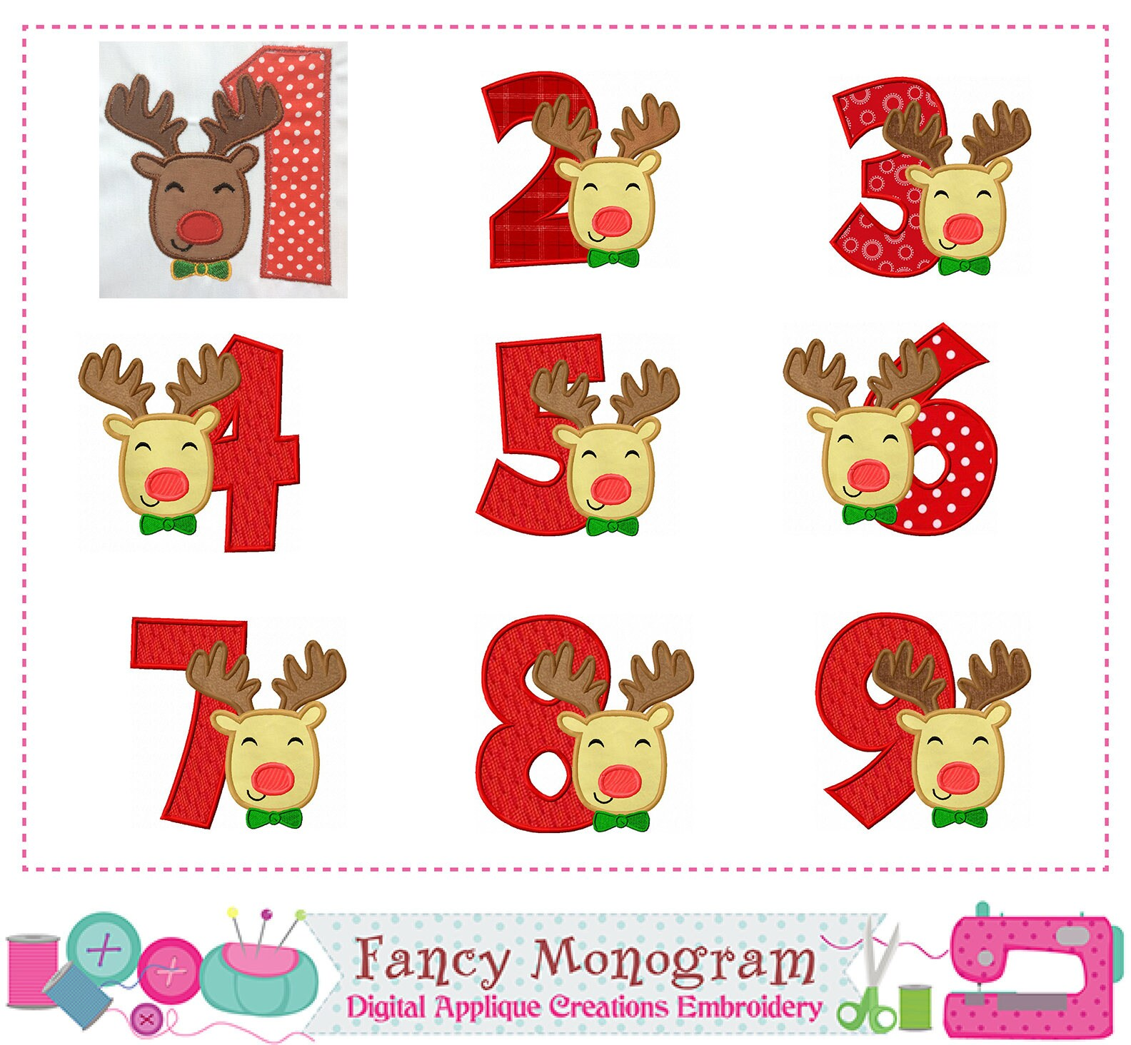 Christmas Numbers Appliquereindeer Numbers