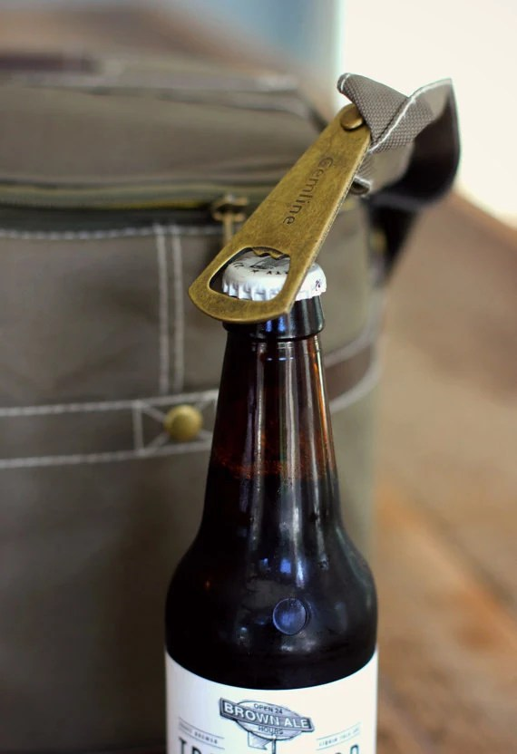 Personalized Beer Cooler Bag // With Bottle Opener // image 1