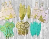 Party Pack of Die Cuts for Boho themed party - Teepees, Dream Catchers and Feathers