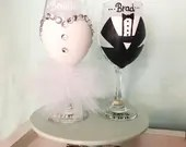 Bride and Groom Wine Glass for First Wedding Toast! Bridal Party Gifts for the Mr and Mrs! Personalized Wedding Dress and Tux Wine Glasses.