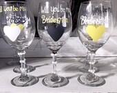Will You Be My Bridesmaid - Yellow, Grey, and White Wine Glasses. Personalized Bridesmaid Gifts and Glasses.