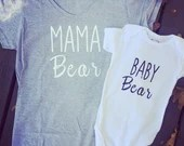 Mama Bear and Baby Bear Matching Tops for Mommy and Me Twinning Moments. Matching Tops for Mommy and Me.