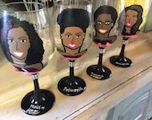 Bridesmaid Charicature Wine Glasses - Bridal Party Gifts - Charicature and Character Wine Glasses for Bridesmaid Gifts.