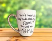 Theres these kids...they kinda stole my heart. They call me Nana. - Coffee Mug for Grandparents from Grandkids. Glitter Dipped Handle Coffee