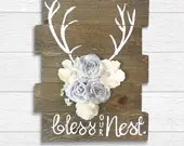 Reclaimed Wood Antlers Bless Our Nest Sign - Cabin and Rustic Hand Painted Wood Home Decor Signs.