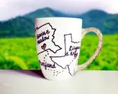 States Connecting - Love knows no Distance Glitter Handle Dipped Coffee Mug for that loved one thats far away!