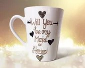 Will you be my Maid of Honor - Gold and Black - Bridesmaid Coffee Mugs - Maid of Honor Coffee Mugs - Bridesmaid Gifts - Black and Gold