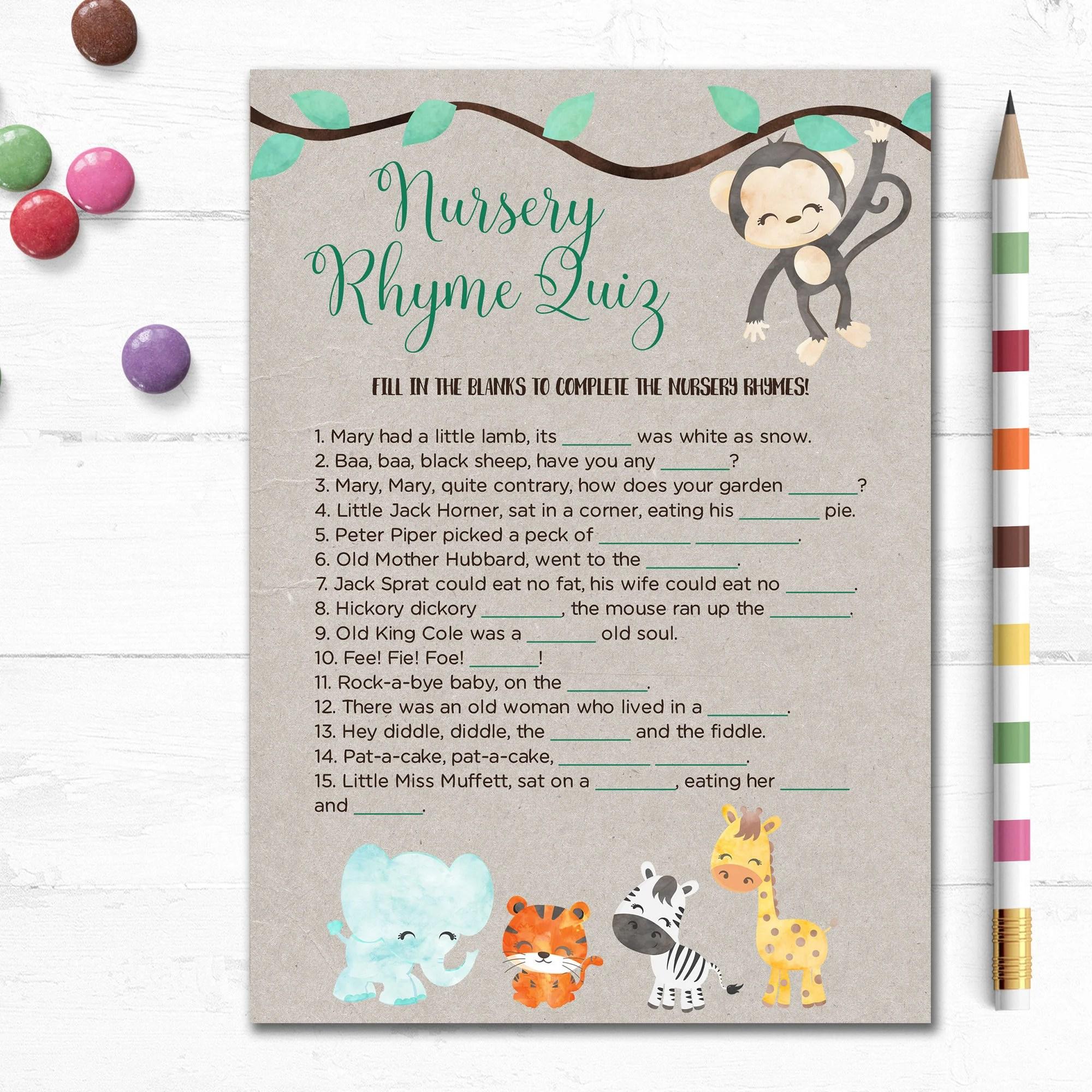 Printable Baby Shower Game Nursery Rhyme Quiz Fill In Blank Jungle Animals Songs Kraft